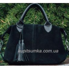 Женская сумка из чёрной натуральной замши и мягкой кожи