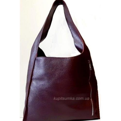 Женская сумка на длиной ручке из натуральной кожи Марсала