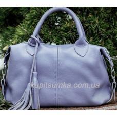 Женская сумка сиреневого цвета из мягкой натуральной кожи
