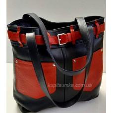Практичная женская сумка из натуральной кожи с накладными карманами