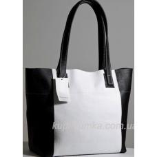 Практичная сумка шоппер из натуральной кожи черно - белого цвета