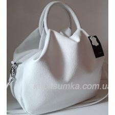 Роскошная женская сумка из мягкой натуральной кожи Белый
