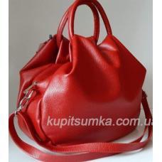 Роскошная  женская сумка из мягкой натуральной кожи вишневого цвета