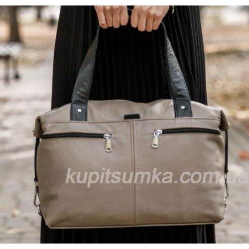 Современная вместительная сумка из натуральной кожи Капучино