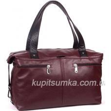 Современная вместительная сумка из натуральной кожи Марсала