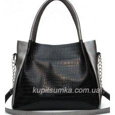 Стильная двухцветная сумка из натуральной кожи высокого качества