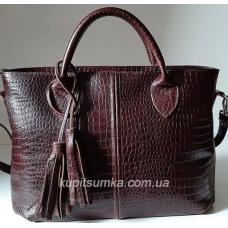 Элегантная кожаная сумка с тиснением Коричнево-бордовый