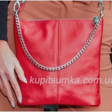 Комфортная сумка в стиле планшета из натуральной мягкой кожи красного цвета