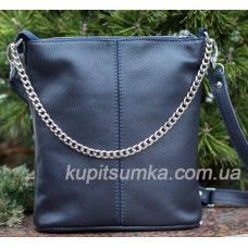 Комфортная сумка в стиле планшета из натуральной мягкой кожи синего цвета