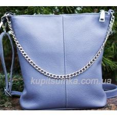 Комфортная сумка в стиле планшета из натуральной мягкой кожи сиреневого цвета