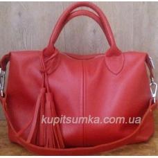 Вишневая женская сумка из мягкой зернистой кожи