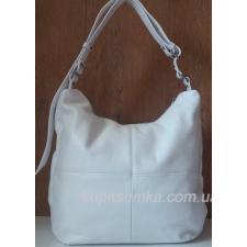 Женская белая сумка из мягкой натуральной кожи на регулируемом ремне