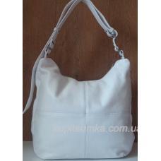 Женская белая сумка из натуральной кожи 14-1PB