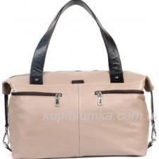 Женская сумка из натуральной кожи бежевого цвета