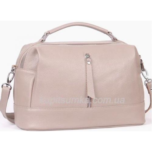Женская сумка из натуральной кожи на два отделения Пудровая