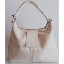 Женская сумка из натуральной телячьей кожи на два отделения молочный беж