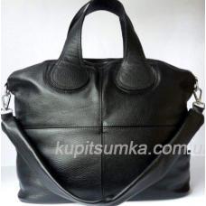 Женская сумка классического черного цвета из высококачественной натуральной кожи
