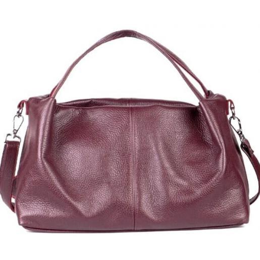 Женская мягкая сумка лаконичного дизайна из натуральной бордовой кожи