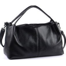Мягкая сумка лаконичного дизайна из натуральной черной кожи
