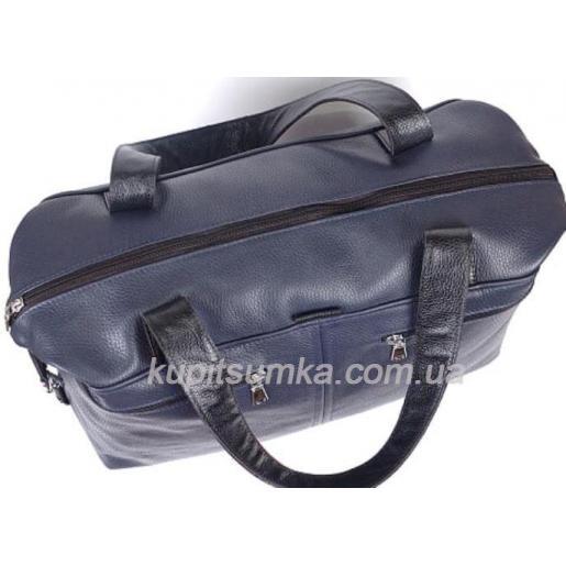 Женская сумка из натуральной кожи темно-синего цвета