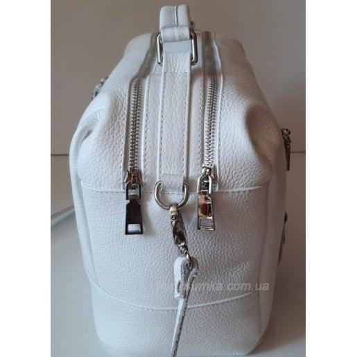 Универсальная сумка-мессенджер из натуральной кожи на два отделения Белый
