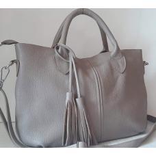 Женская сумка из серой мягкой натуральной кожи