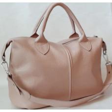 Практичная женская сумка из натуральной кожи пудрового цвета