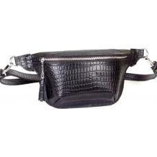 Удобная сумка на пояс из натуральной тисненой кожи