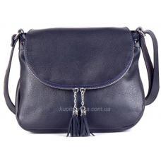 Женская кожаная сумка кросс - боди Синий тёмный