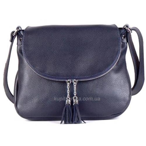 Женская кожаная сумка кросс - боди синяя 19B-141