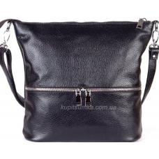 Удобная женская сумка из натуральной мягкой кожи черного цвета