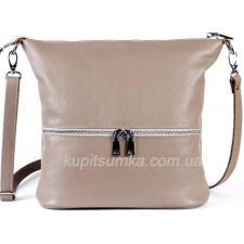 Удобная женская сумка из натуральной мягкой кожи капучино