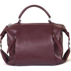 Молодежная кожаная сумка от украинского производителя бордового цвета