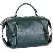 Молодежная кожаная сумка от украинского производителя зеленого цвета