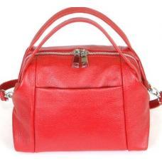Кожаная городская сумка красного цвета среднего размера