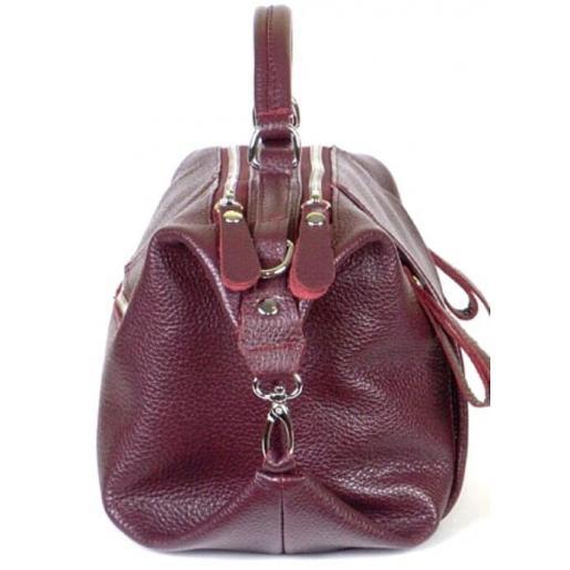Кожаная женская сумка PB52-2 Бордовый