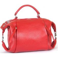 Молодежная кожаная сумка от украинского производителя красного цвета