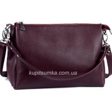 Женская сумка из натуральной мягкой кожи на три отделения бордового цвета