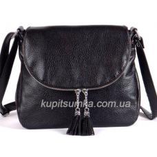 Женская кожаная сумка кросс - боди с кисточками Черная