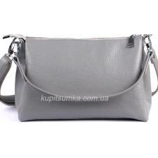 Женская сумка из натуральной мягкой кожи на три отделения серого цвета