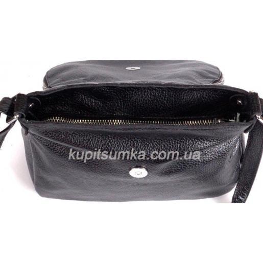 Женская кожаная сумка кросс - боди черная 19BP-41