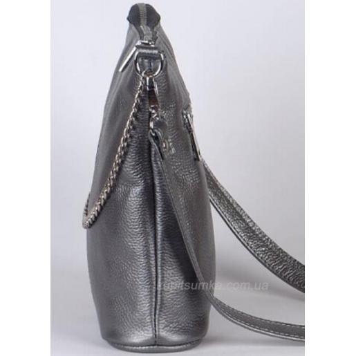 Комфортная сумка графитового цвета  в стиле планшета из натуральной мягкой кожи