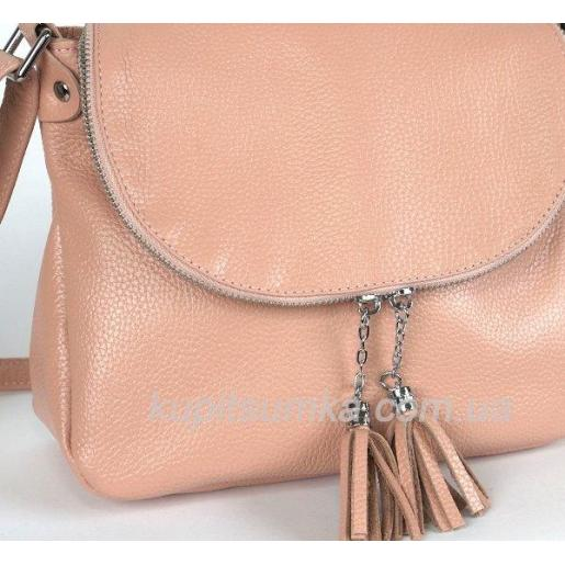 Женская кожаная сумка кросс - боди Пудровая