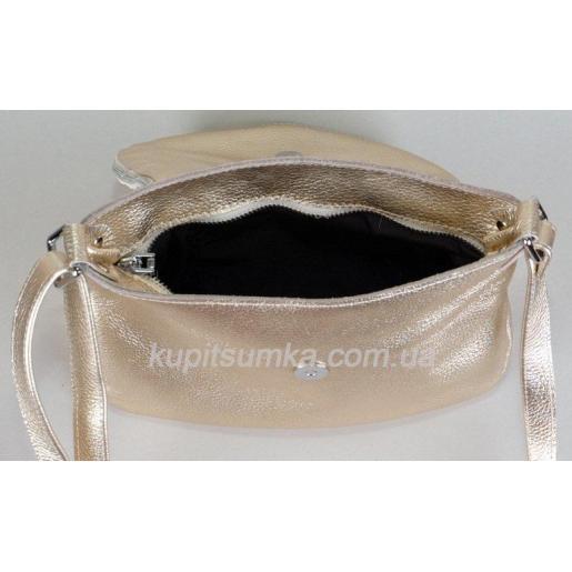 Женская кожаная сумка кросс - боди Золотистая