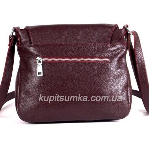 Женская кожаная сумка кросс - боди Марсала
