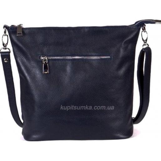 Комфортная черная сумка в стиле планшета из натуральной мягкой кожи