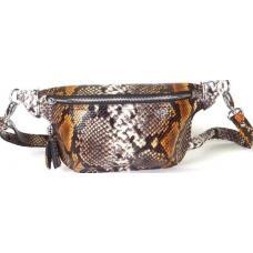 Современная сумка на пояс из натуральной кожи с экзотическим принтом