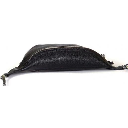 Молодежная сумка на пояс из натуральной кожи черного цвета
