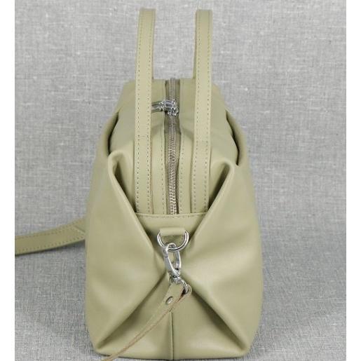 Женская кожаная сумка - мессенджер оливковая PB51-689