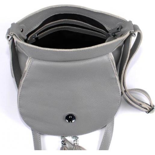 Женская кожаная сумка кросс - боди PV19-54 Серый